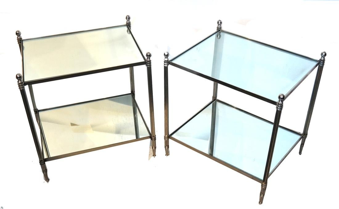 Pair of Modern Two-Tier Mirrored Tables