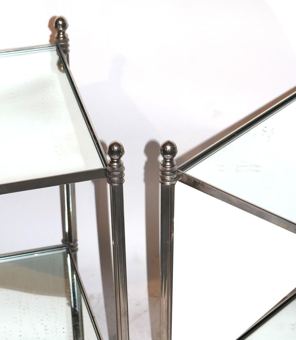 Pair of Modern Two-Tier Mirrored Tables - 2