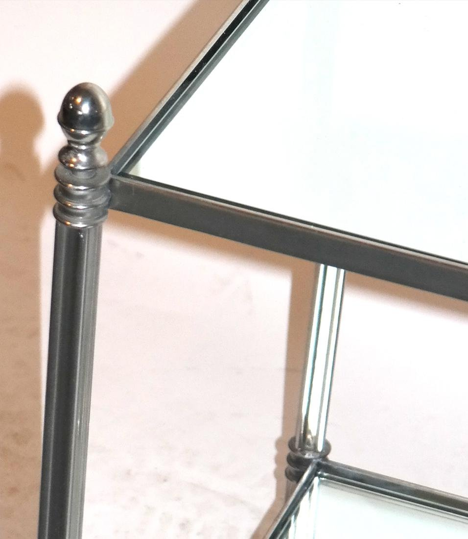 Pair of Modern Two-Tier Mirrored Tables - 3