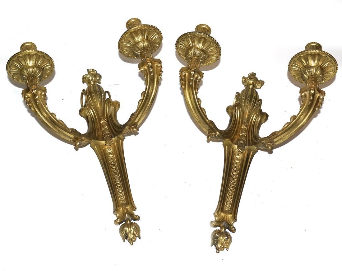 Pair of Bronze Dore Sconces