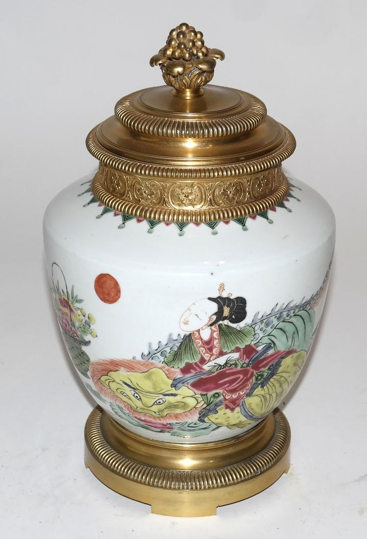 Asian Porcelain and Bronze Covered Urn