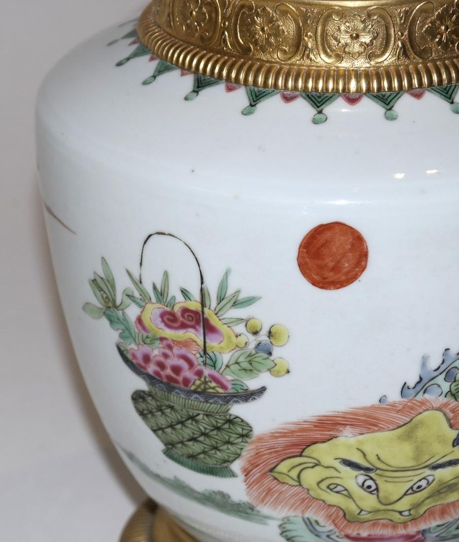 Asian Porcelain and Bronze Covered Urn - 4