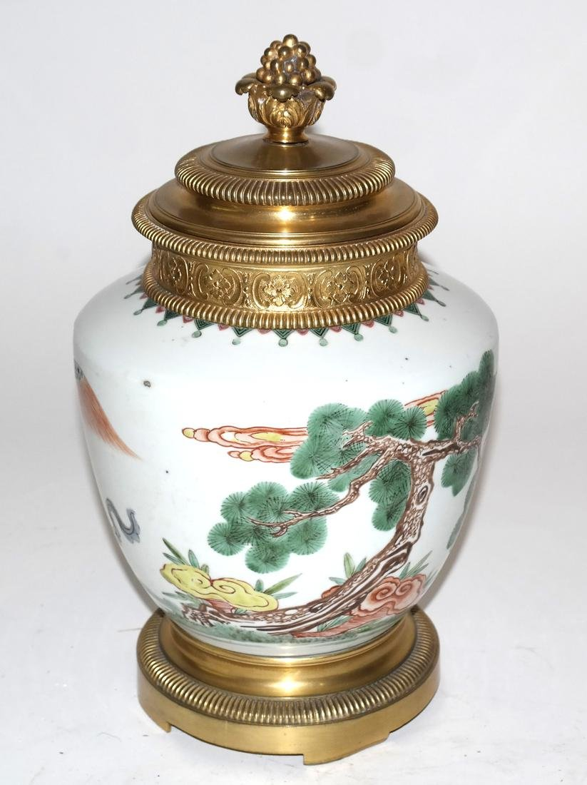 Asian Porcelain and Bronze Covered Urn - 5