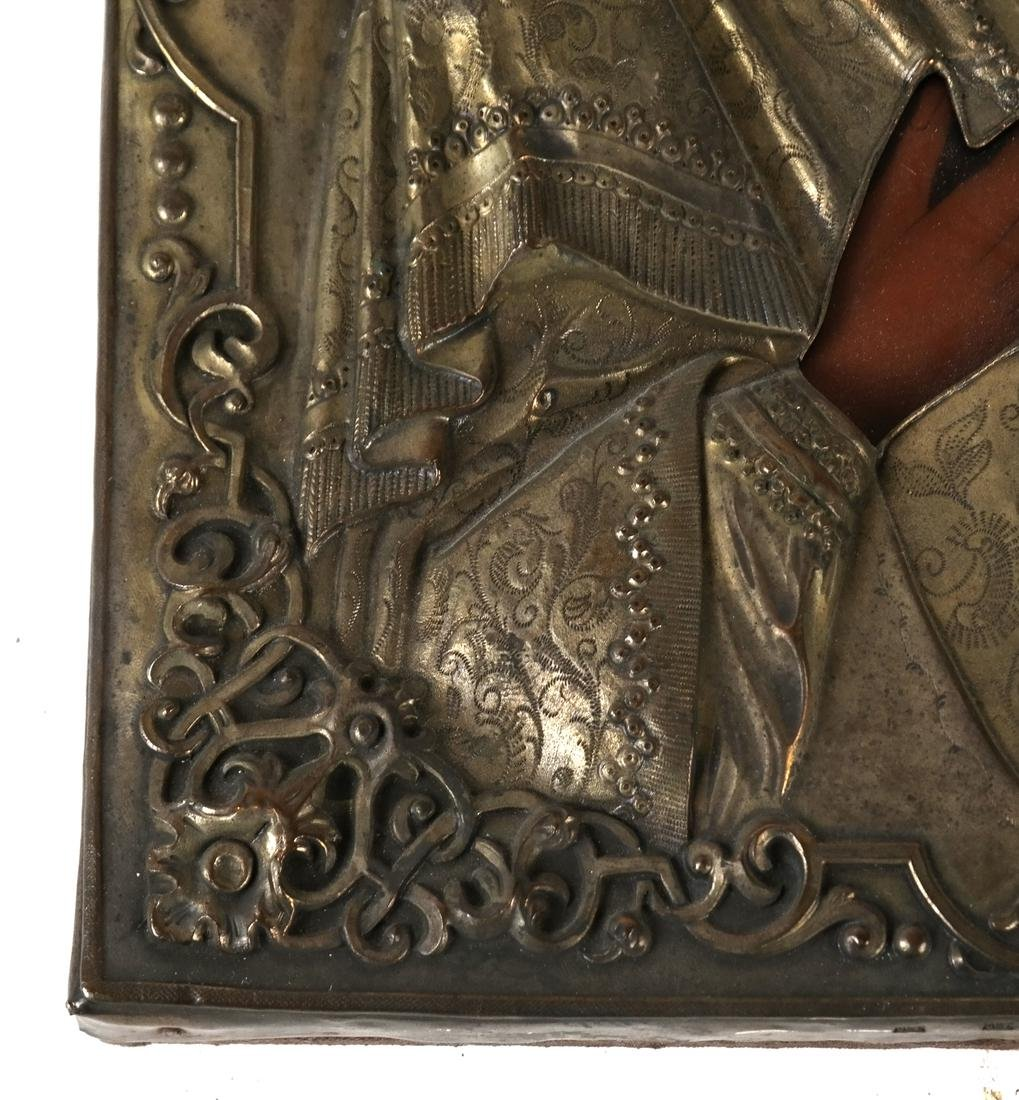 Antique Russian Enamel and Silver Plate Icon - 4