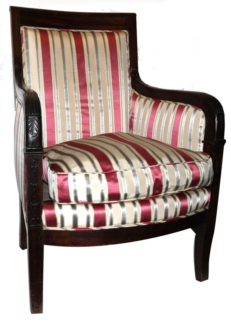 19th Century Mahogany Upholstered Bergere