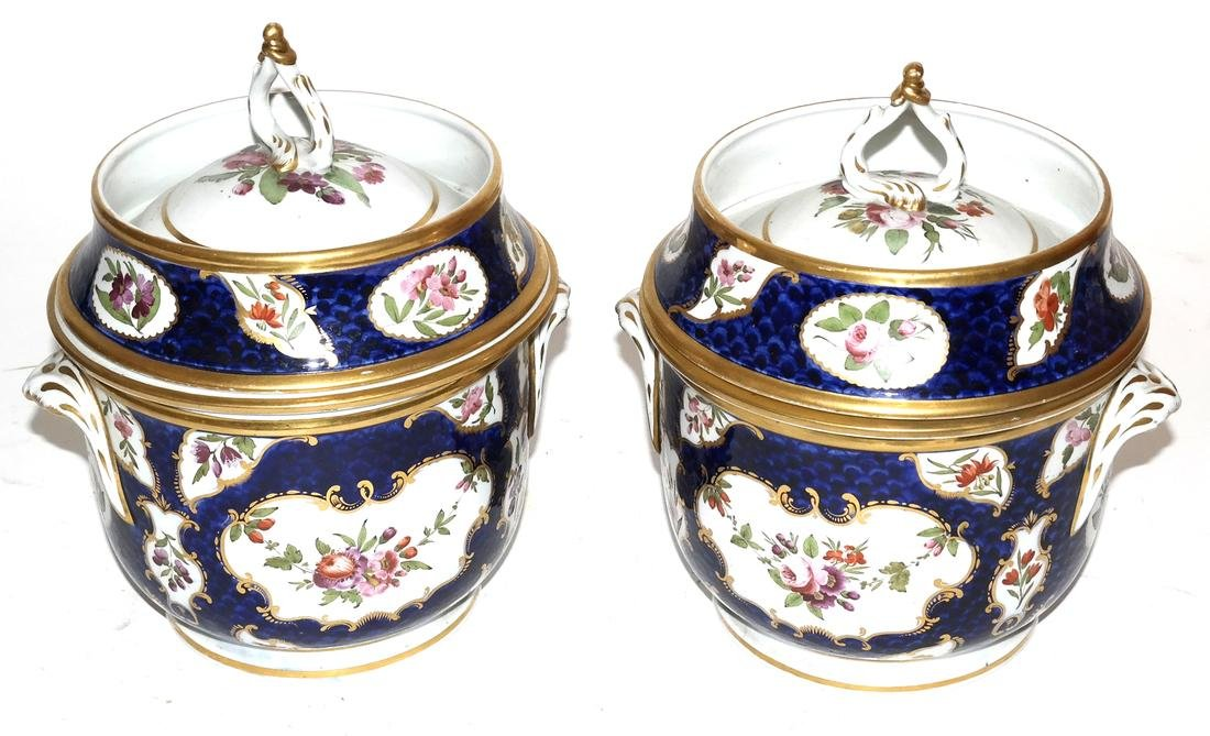Pair of French Jacob Petite Covered Urns