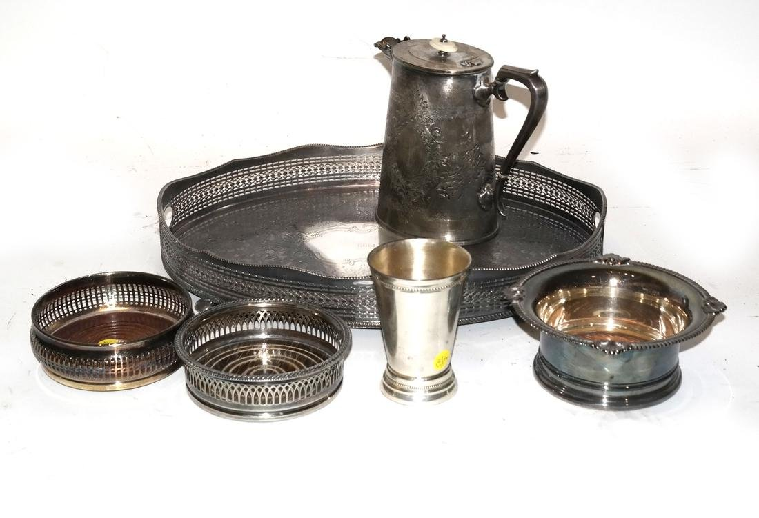 Silver Plate Pitcher, Tray, and Others