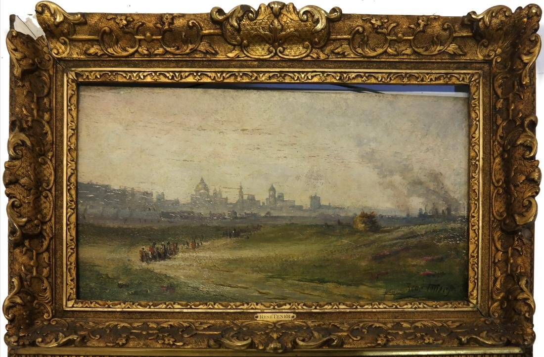 Rene Follery, Riverscape with City - 2