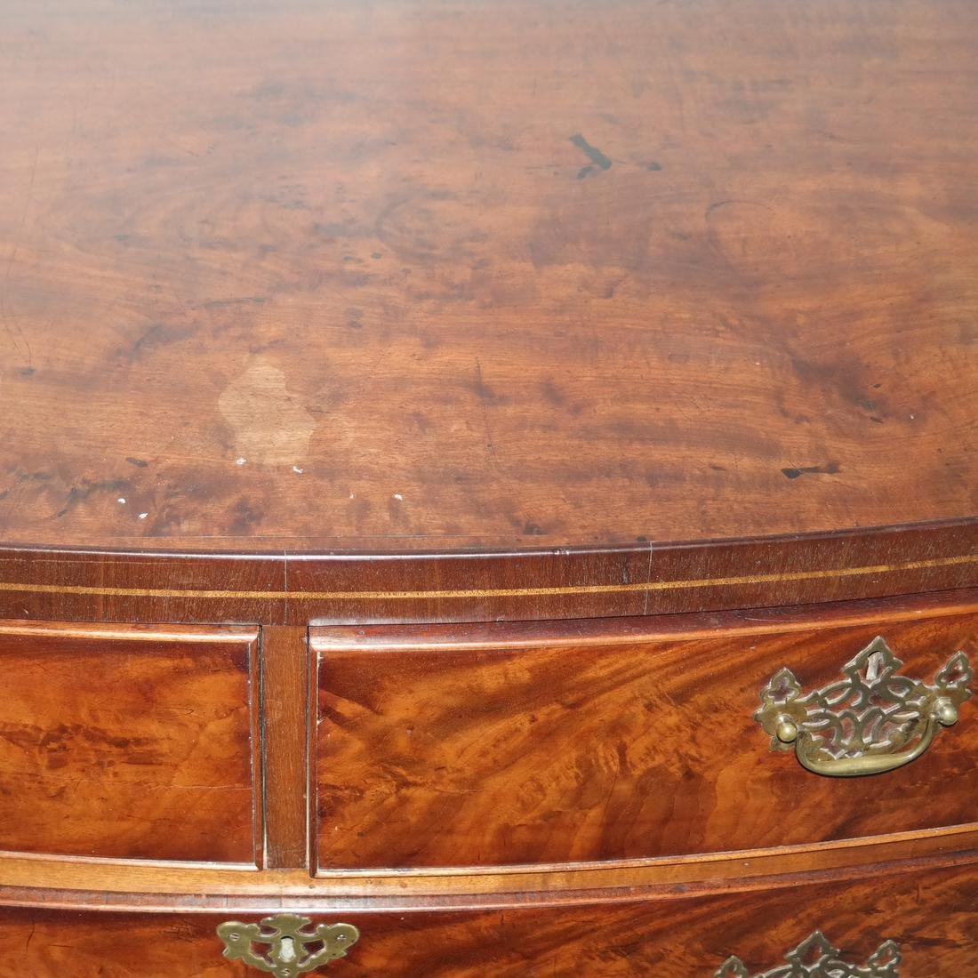 Antique English Bow Front Chest - 6