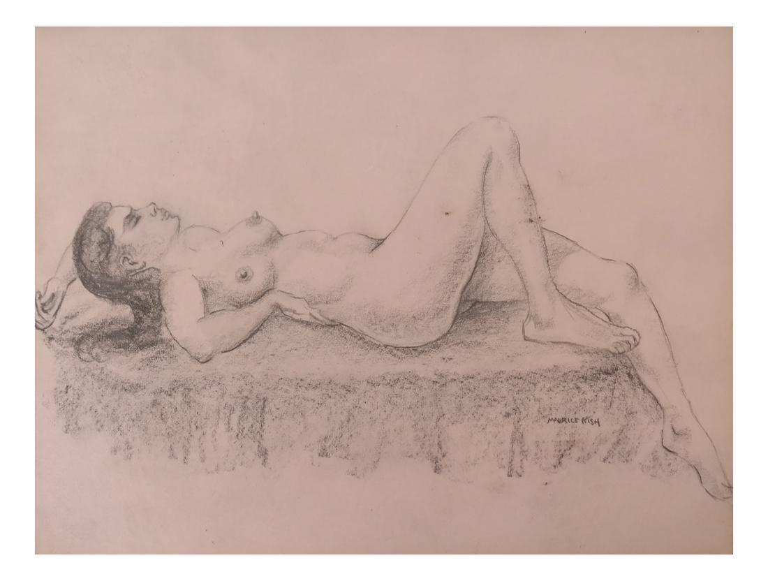 Maurice Kish, Female Nude - Oil on Board