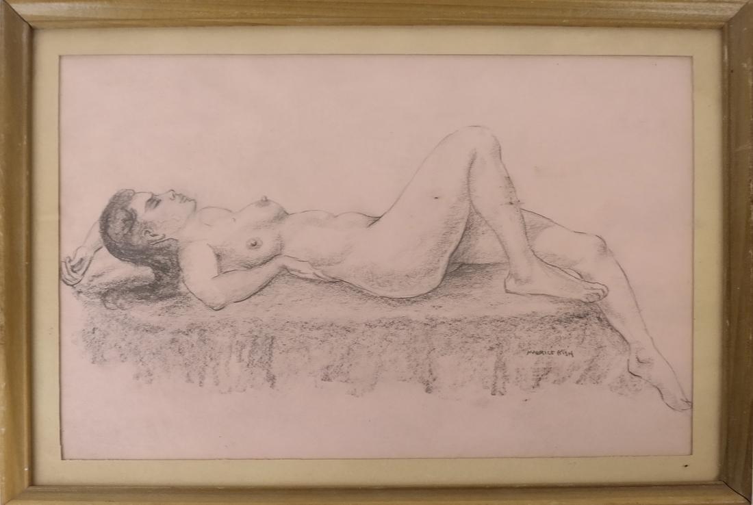 Maurice Kish, Female Nude - Oil on Board - 2