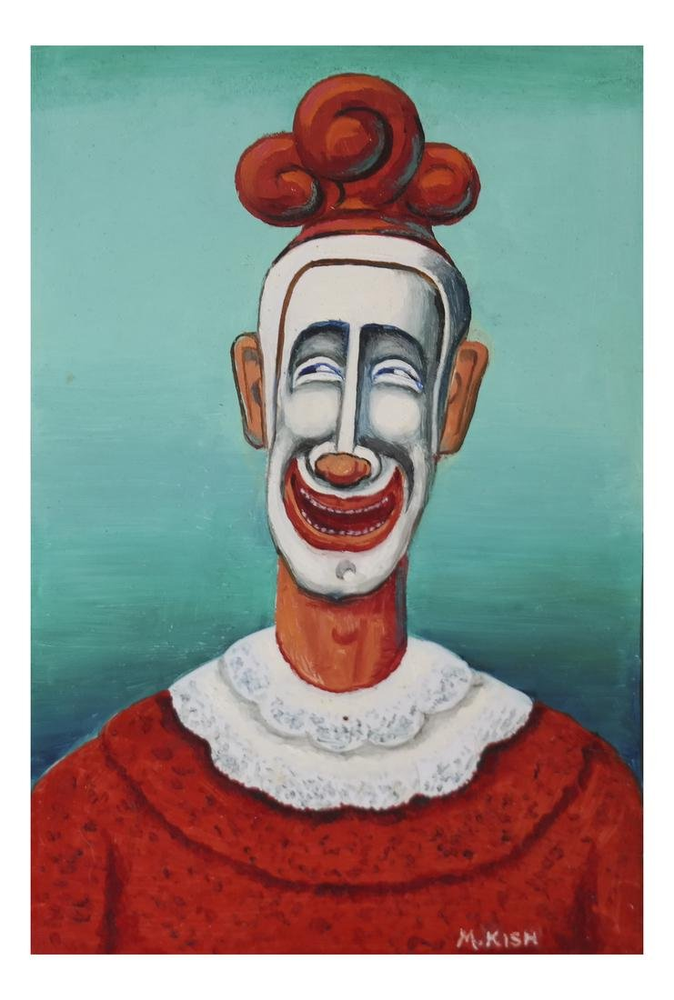 """Maurice Kish, """"The Smiling Clown"""" - Oil on Board"""