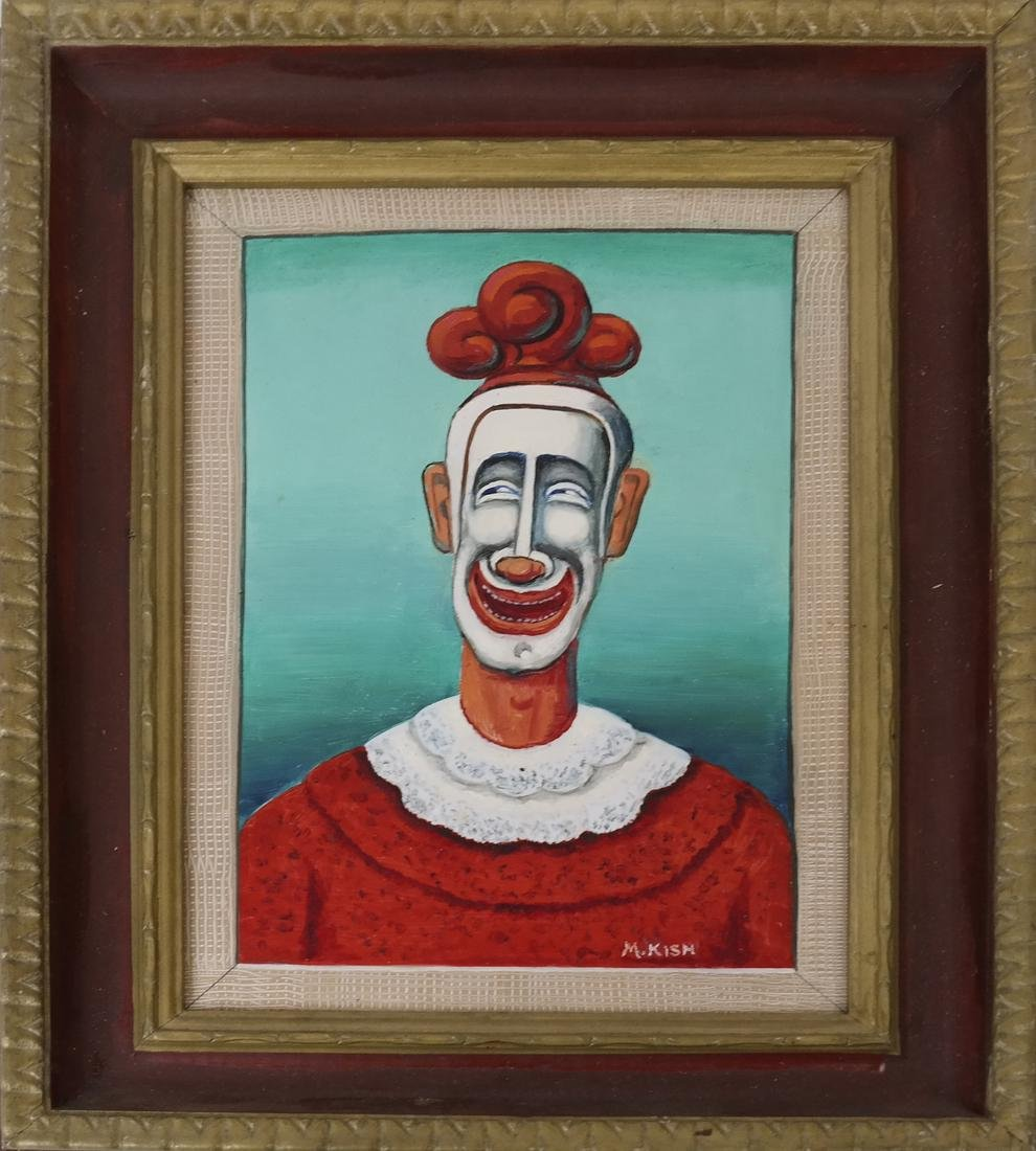 """Maurice Kish, """"The Smiling Clown"""" - Oil on Board - 2"""