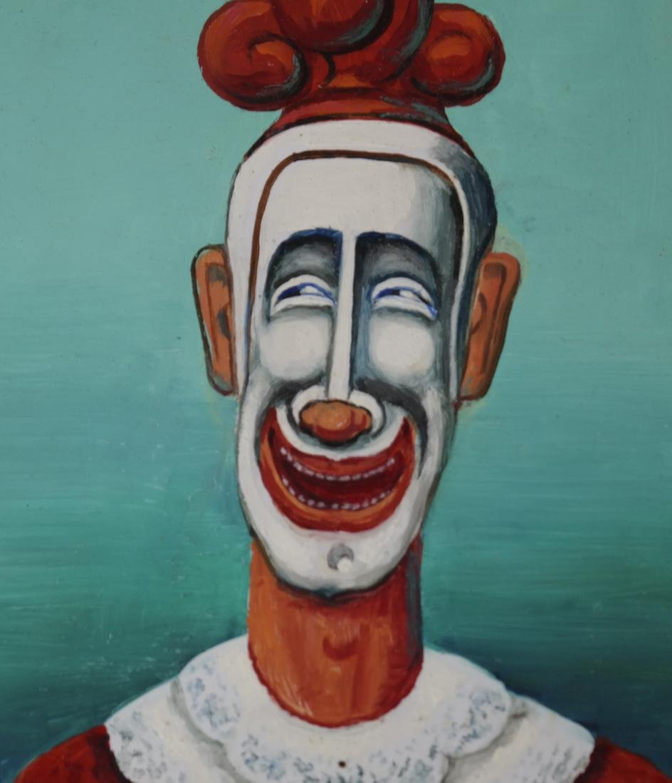 """Maurice Kish, """"The Smiling Clown"""" - Oil on Board - 4"""