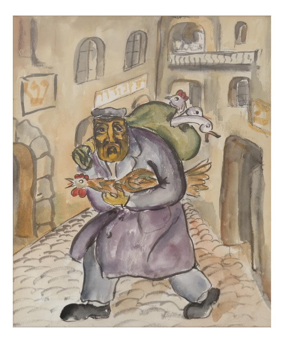 """Attributed to Mane Katz, """"Fowl Seller"""" - Watercolor"""