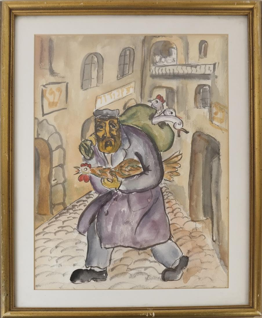 "Attributed to Mane Katz, ""Fowl Seller"" - Watercolor - 2"