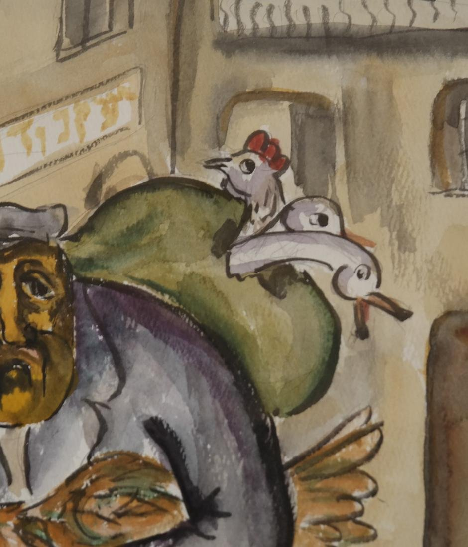 "Attributed to Mane Katz, ""Fowl Seller"" - Watercolor - 5"