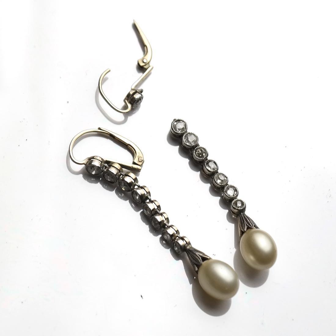 Diamond and Pearl Drop Earrings