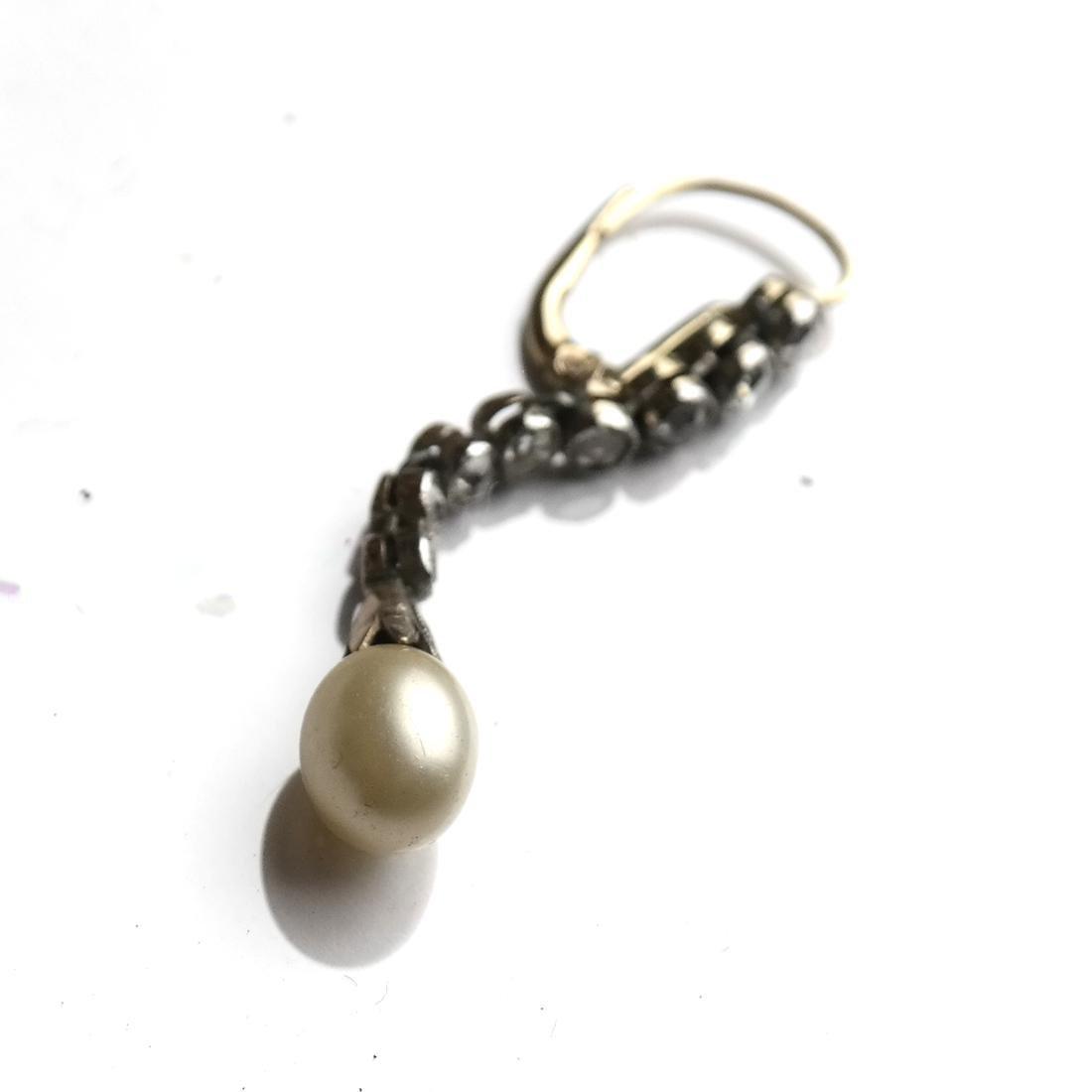 Diamond and Pearl Drop Earrings - 5