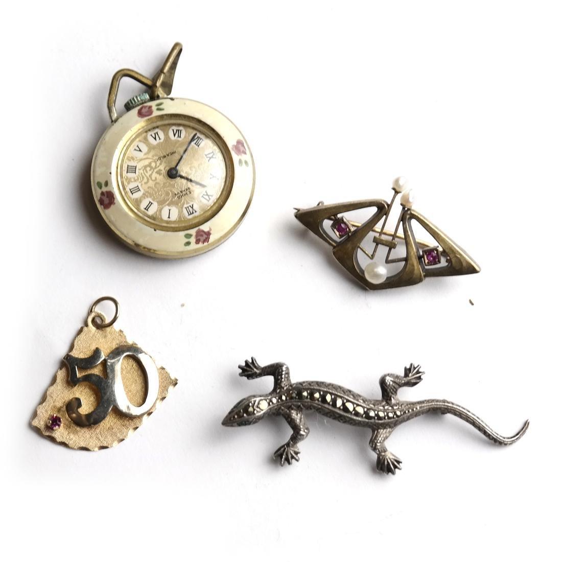 4 Items: Pin, Brooch, Watch, Lizard
