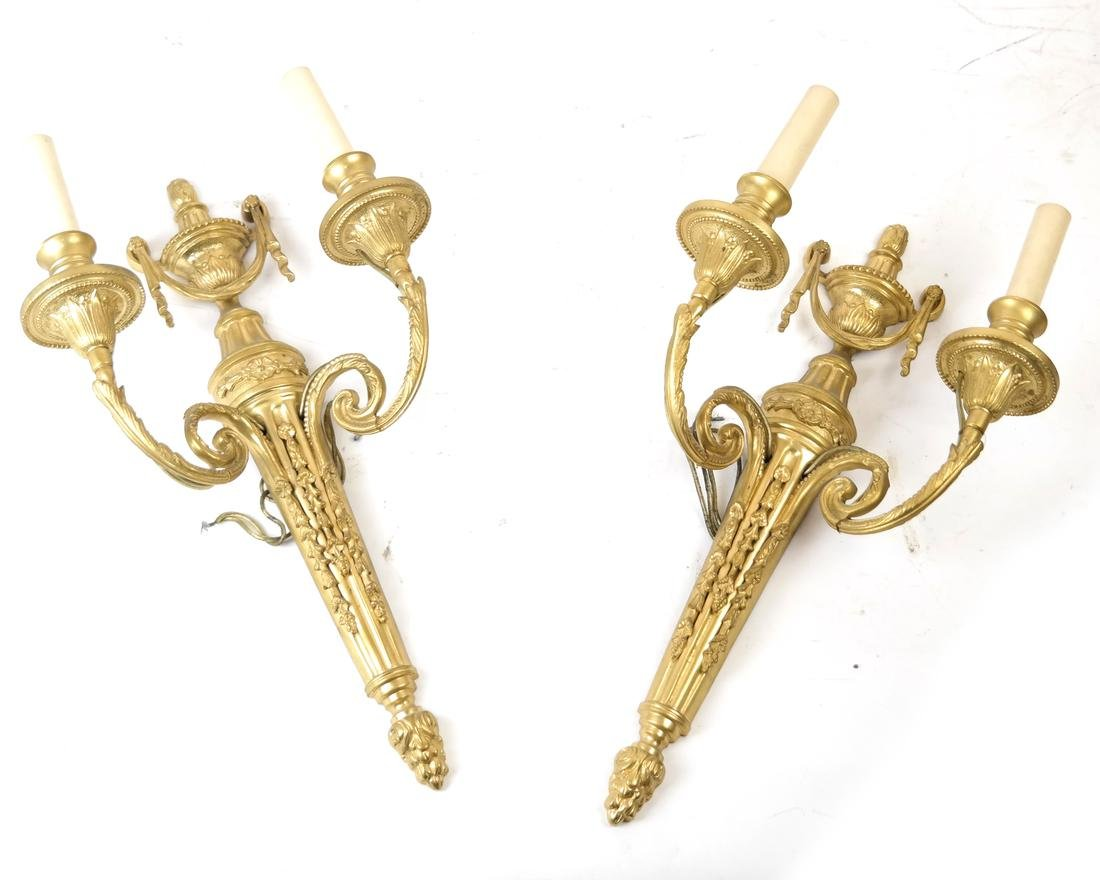 Pair of Bronze Dore Urn Motif Sconces
