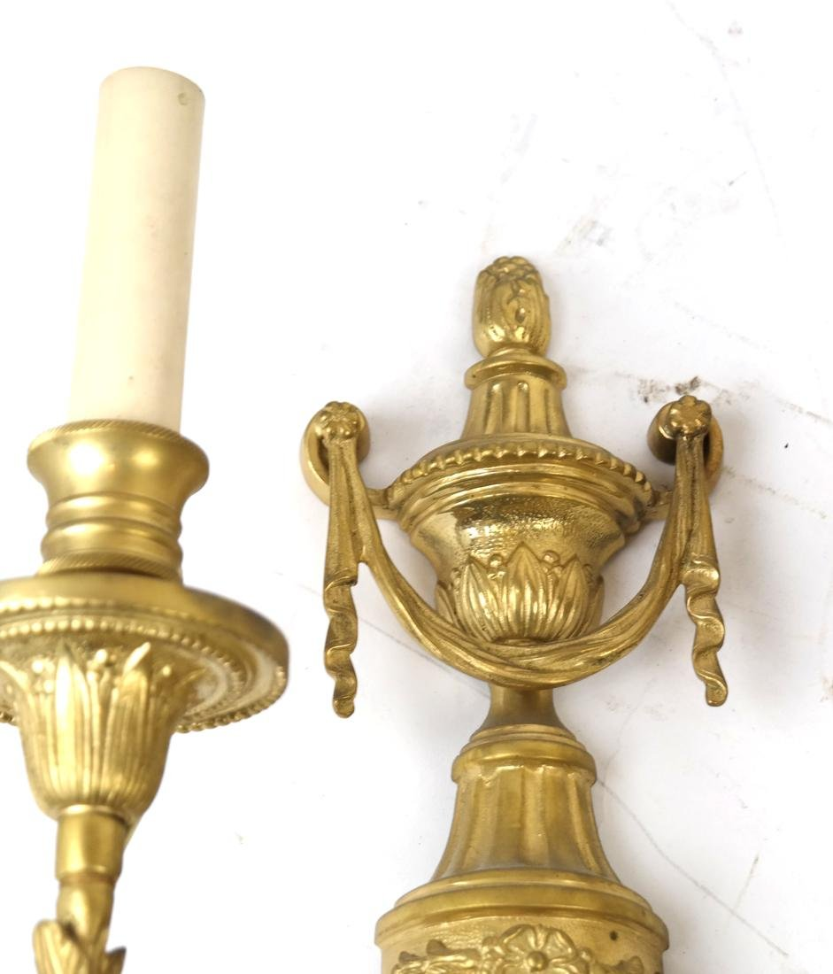 Pair of Bronze Dore Urn Motif Sconces - 4
