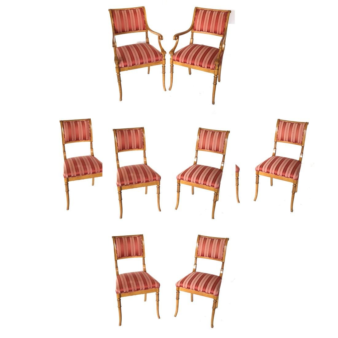 Set of Eight Regency-Style Dining Chairs