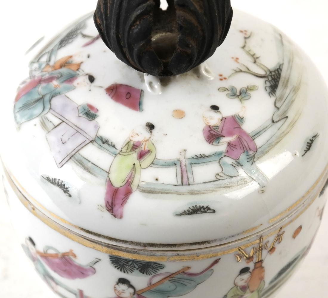 Chinese Famille Verte Covered Bowl - 2