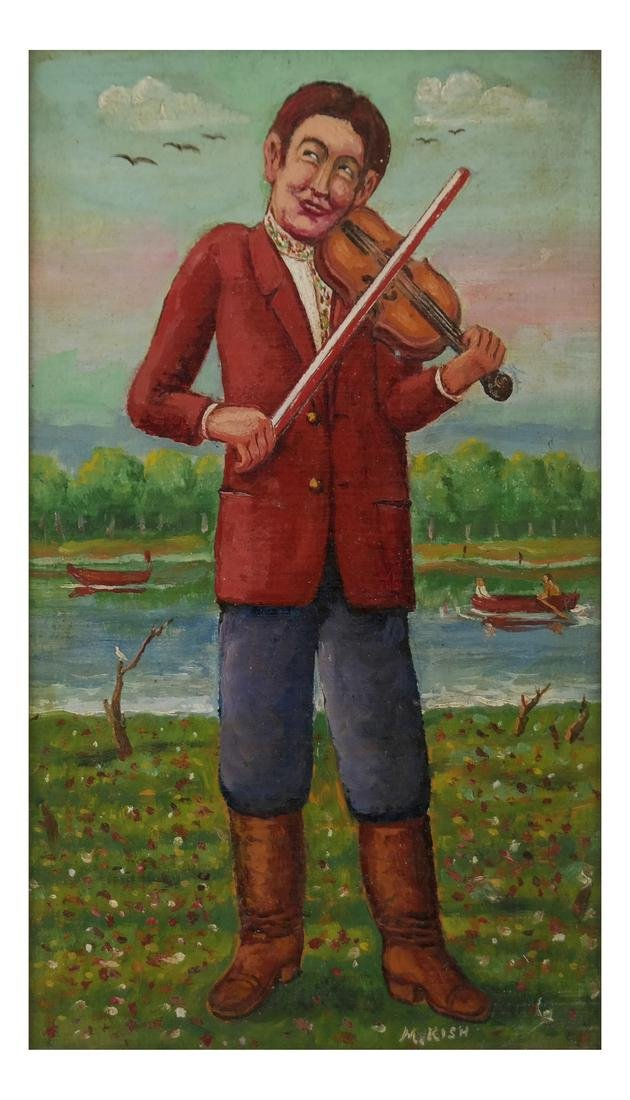 "Maurice Kish, ""The Open Air Fiddler"" - Oil on Board"