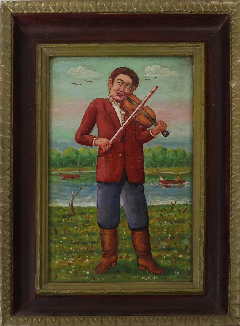 "Maurice Kish, ""The Open Air Fiddler"" - Oil on Board - 2"