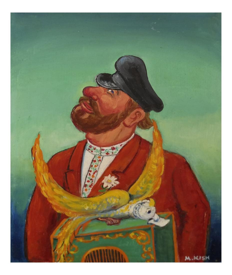 "Maurice Kish, ""The Organ Grinder"" - Oil on Board"