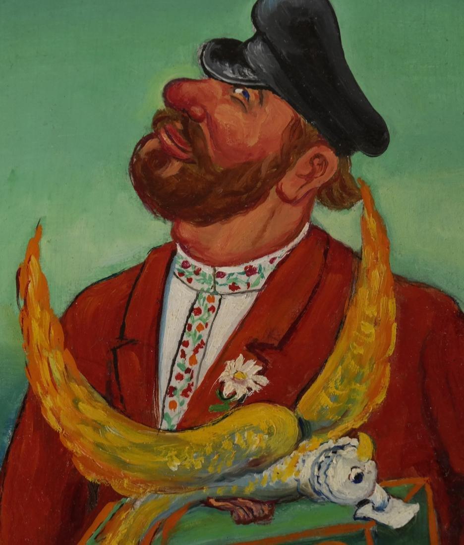 "Maurice Kish, ""The Organ Grinder"" - Oil on Board - 4"
