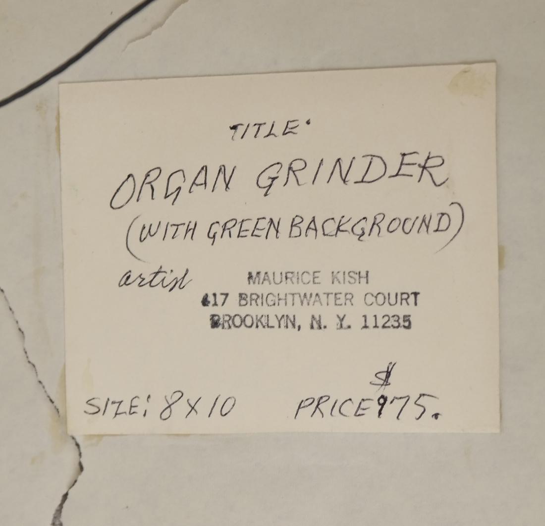 "Maurice Kish, ""The Organ Grinder"" - Oil on Board - 5"
