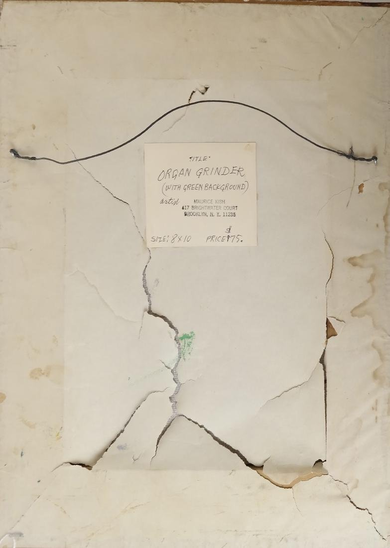 "Maurice Kish, ""The Organ Grinder"" - Oil on Board - 6"