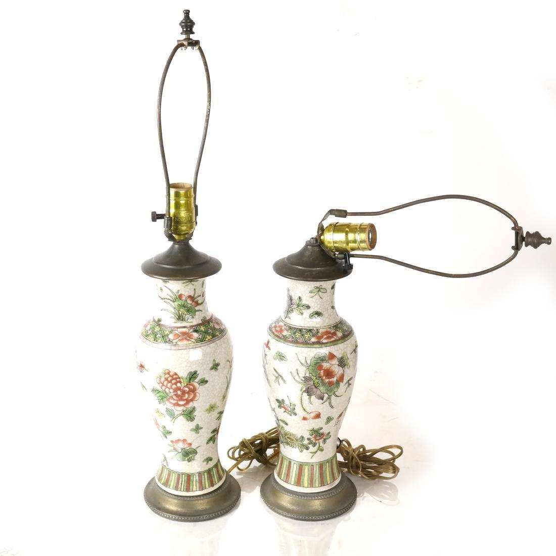 Pair of Asian Crackleware Decorated Lamps