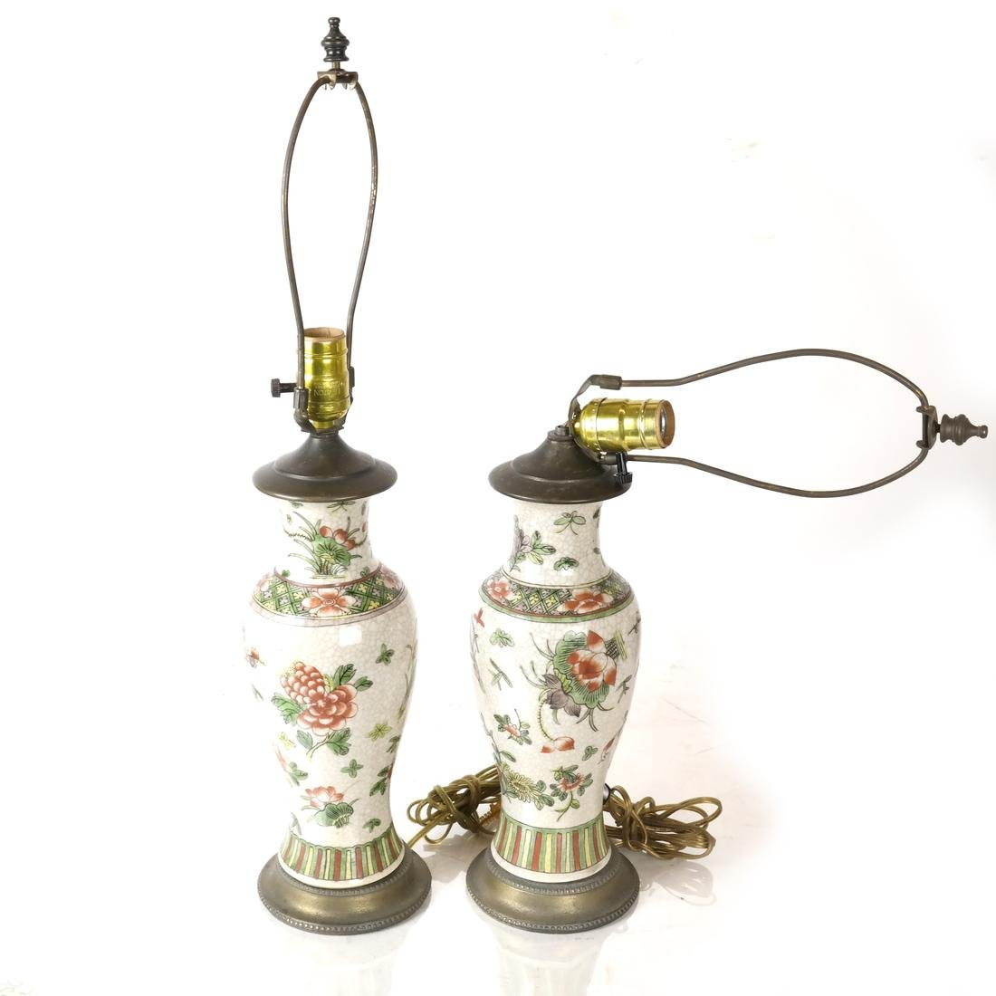 Pair of Asian Crackleware Decorated Lamps