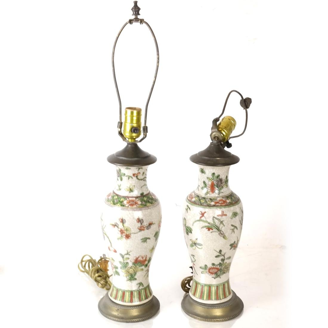 Pair of Asian Crackleware Decorated Lamps - 2