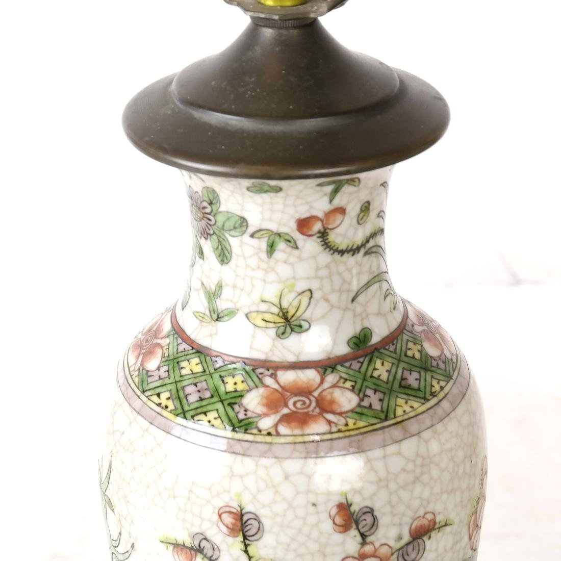 Pair of Asian Crackleware Decorated Lamps - 3