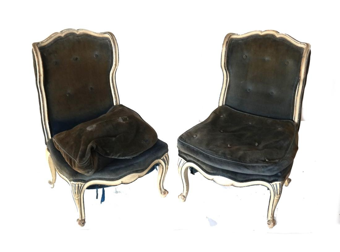 Pair of Painted Slipper Chairs