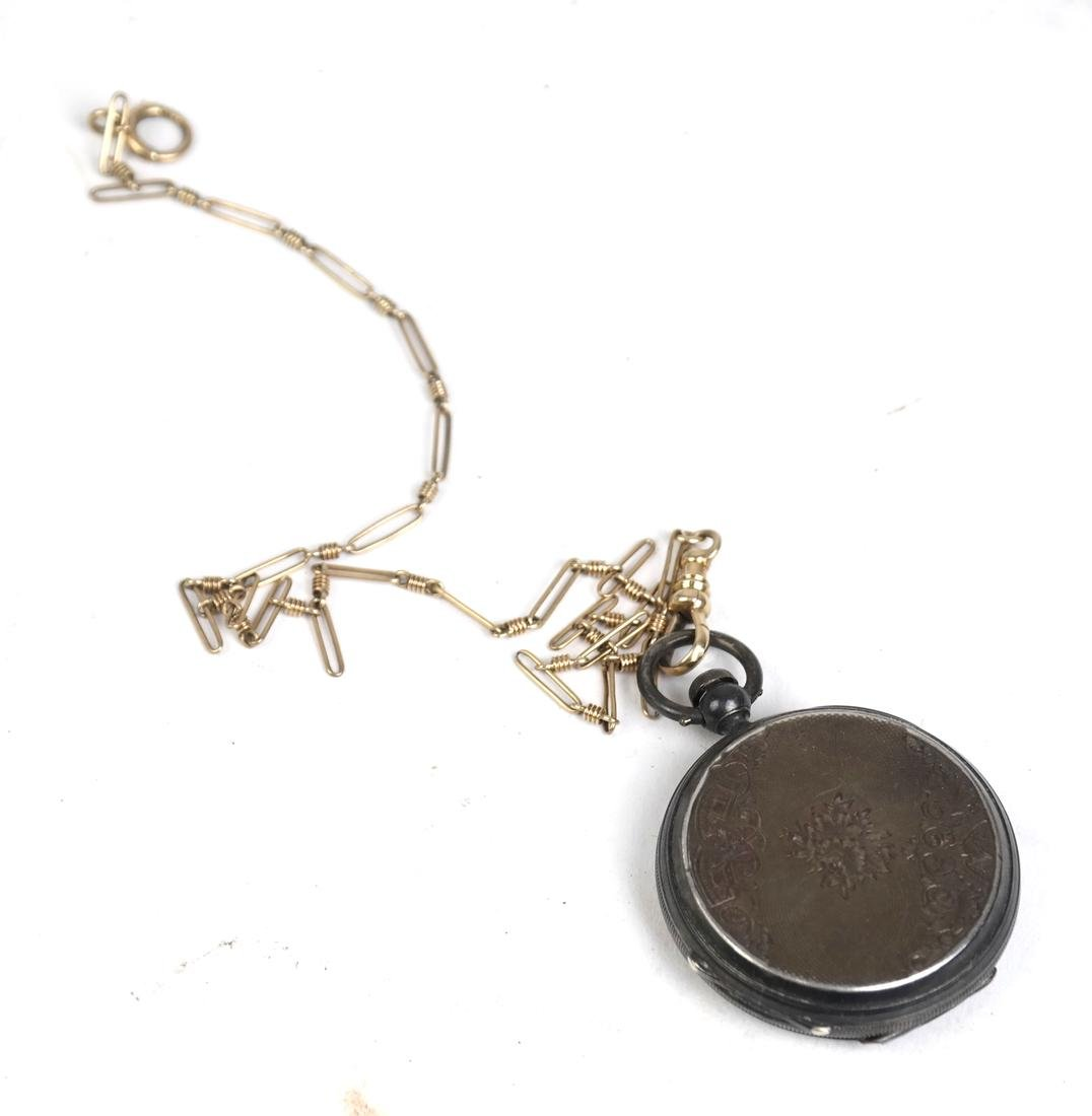 14k Watch Fob and Silver Plate Pocket Watch