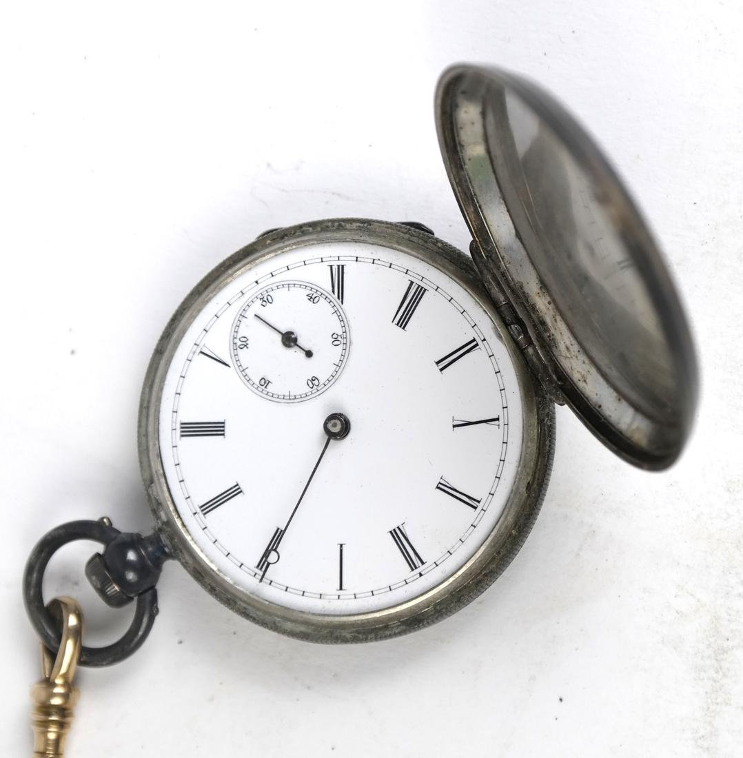 14k Watch Fob and Silver Plate Pocket Watch - 4