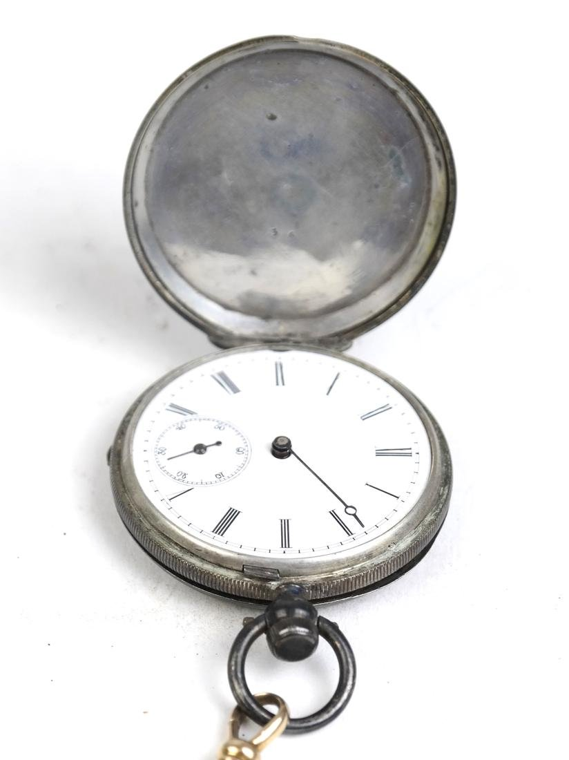 14k Watch Fob and Silver Plate Pocket Watch - 5