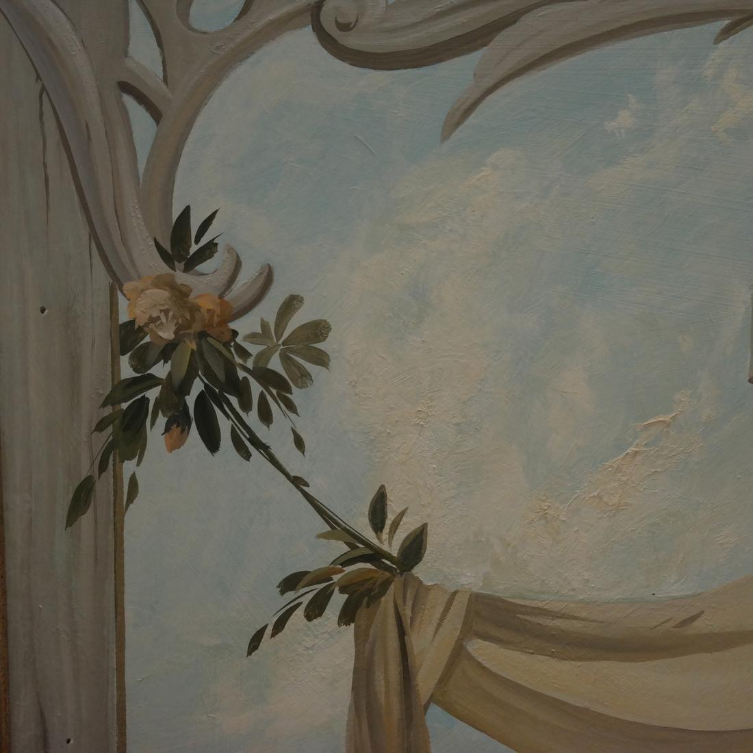 """Decorative Painted Wood Panel - Signed """"Riseborough"""" - 3"""