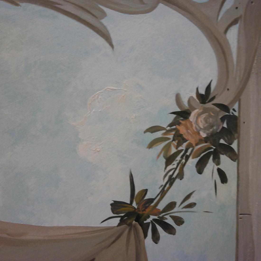 """Decorative Painted Wood Panel - Signed """"Riseborough"""" - 6"""