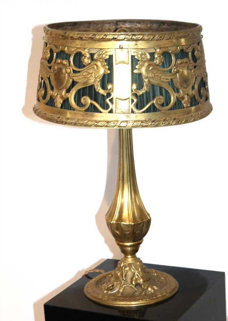 Beaux Arts Cast Bronze Table Lamp and Shade