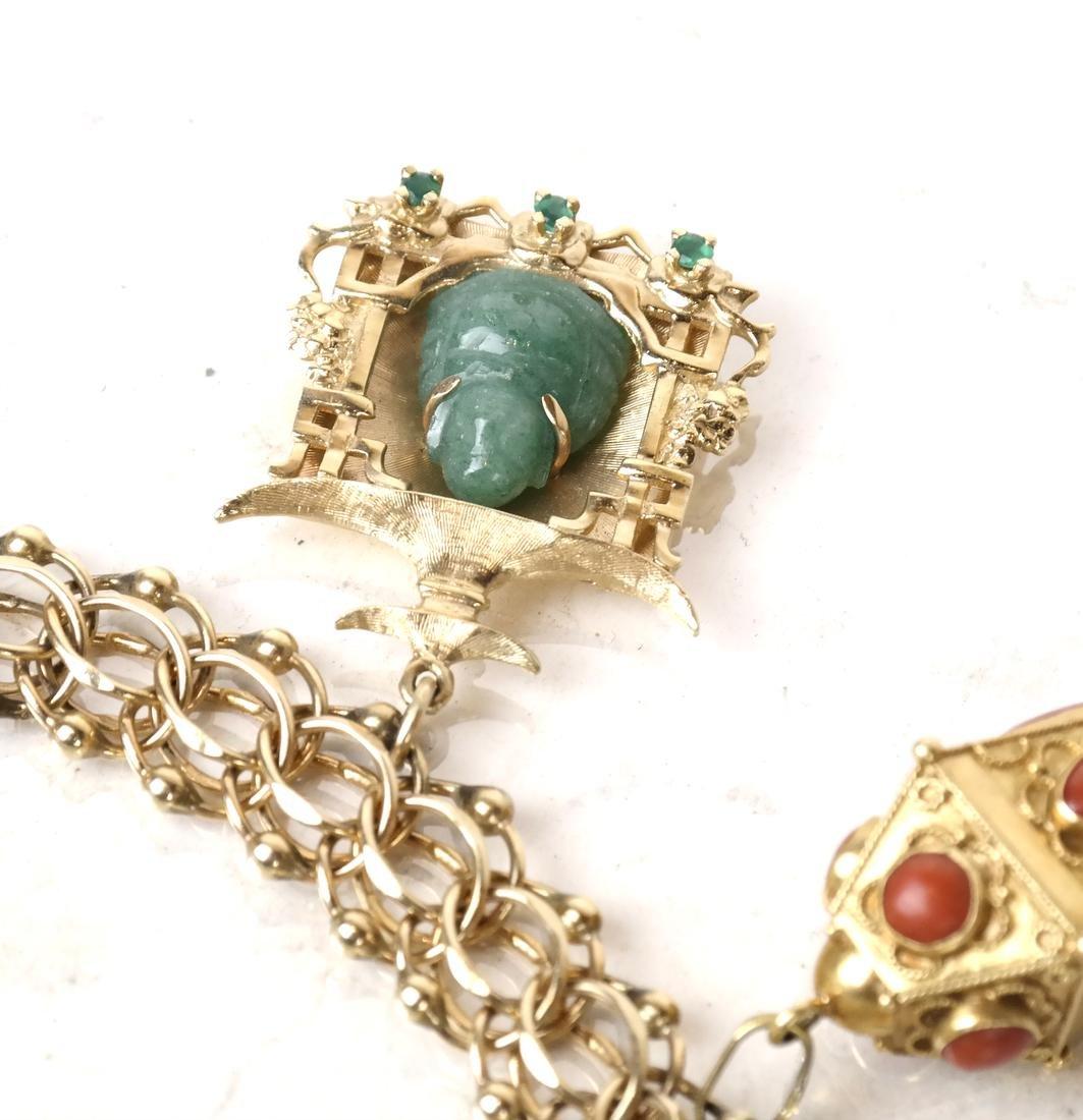 14k Yellow Gold Charm Bracelet - 3
