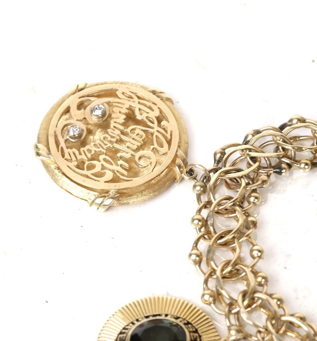 14k Yellow Gold Charm Bracelet - 4