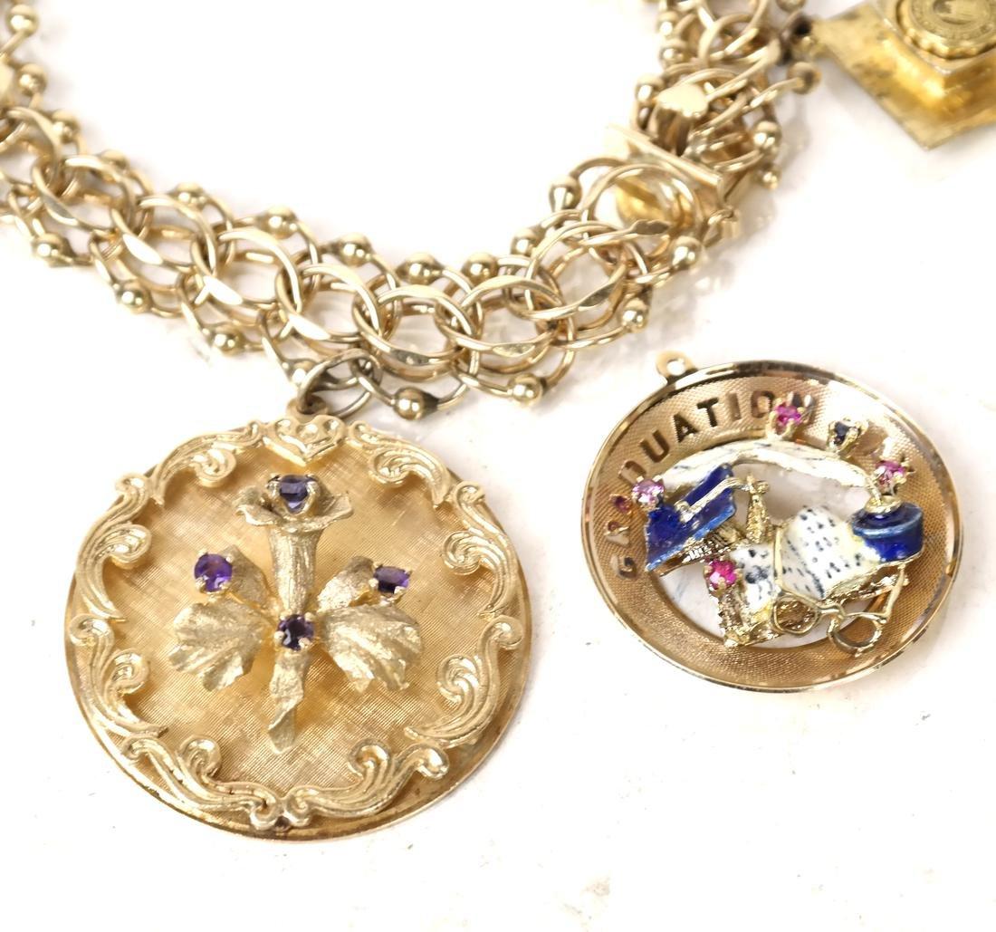 14k Yellow Gold Charm Bracelet - 5