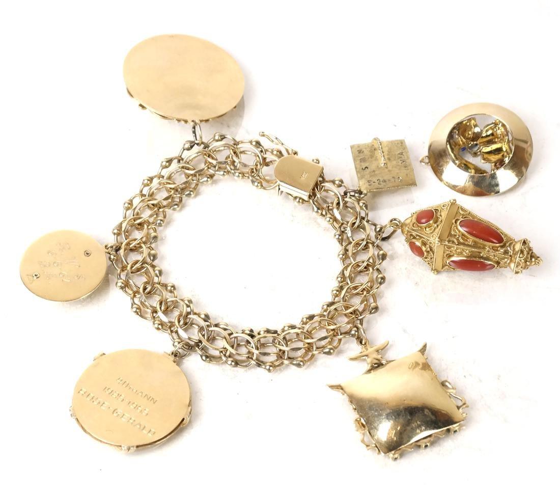 14k Yellow Gold Charm Bracelet - 6