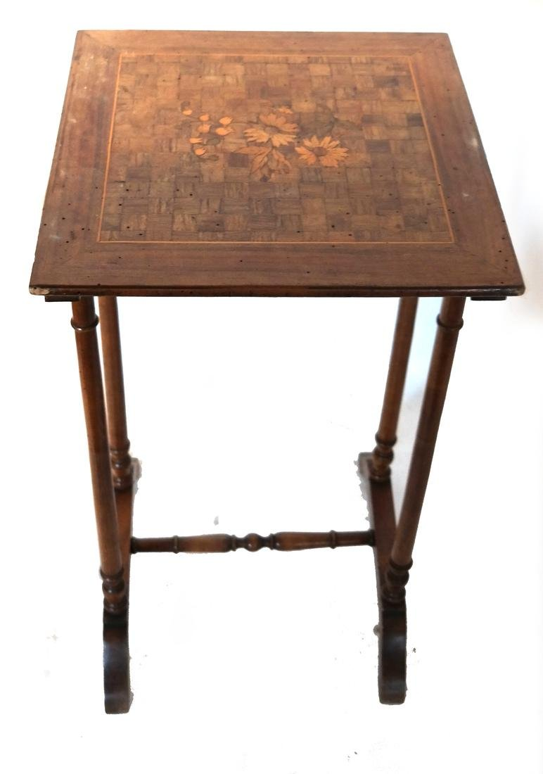Nest of Three Parquetry and Floral Inlaid Tables - 2